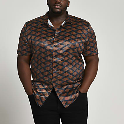 Big & Tall black abstract print shirt