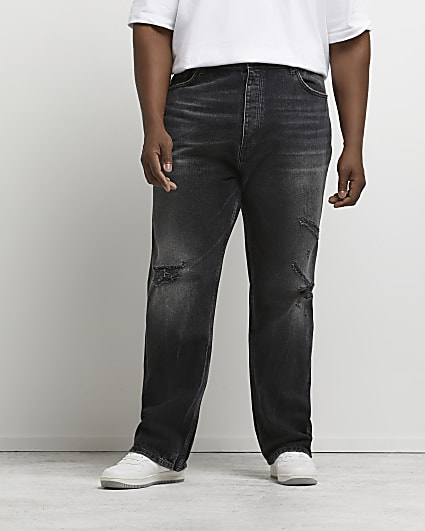 Big & tall black baggy fit ripped jeans