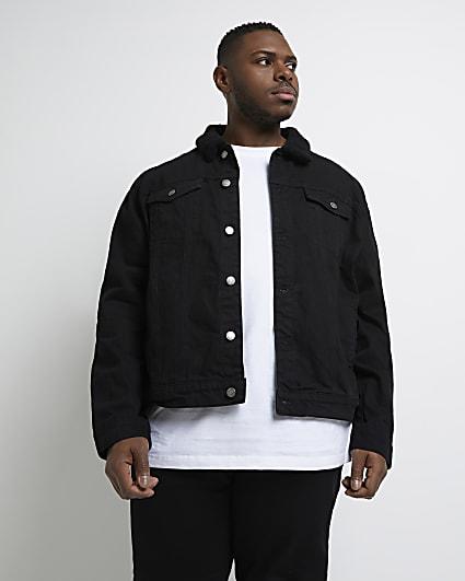 Big & tall black borg collar denim jacket