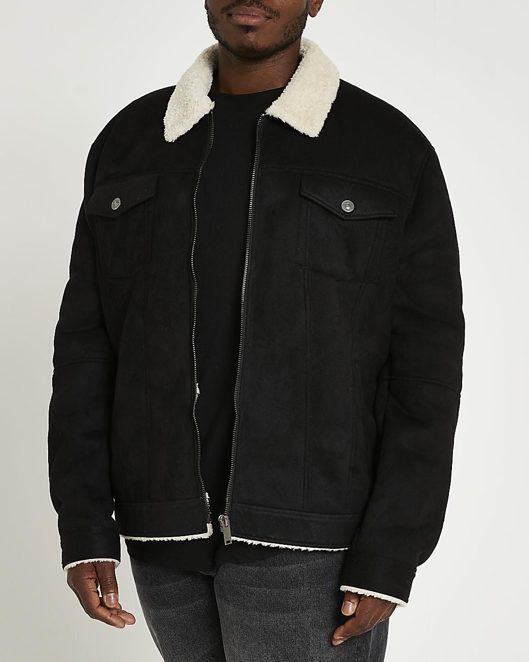 Big & tall black collared jacket