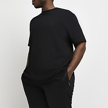 Big & Tall black curved hem longline t-shirt
