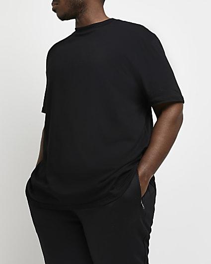 Big & Tall black curved hem slim fit t-shirt