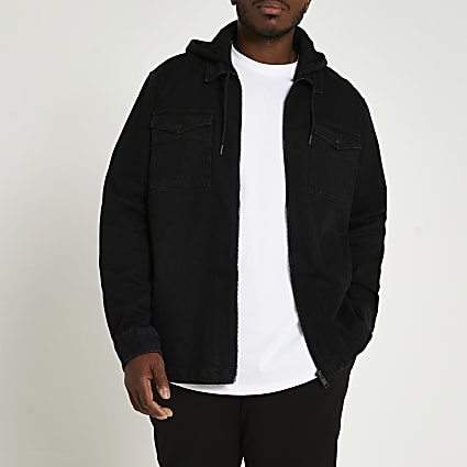 Big & Tall black denim hooded shacket