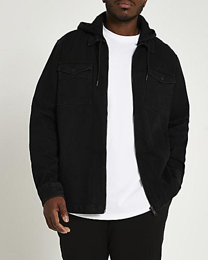 Big & Tall black denim hooded shacket