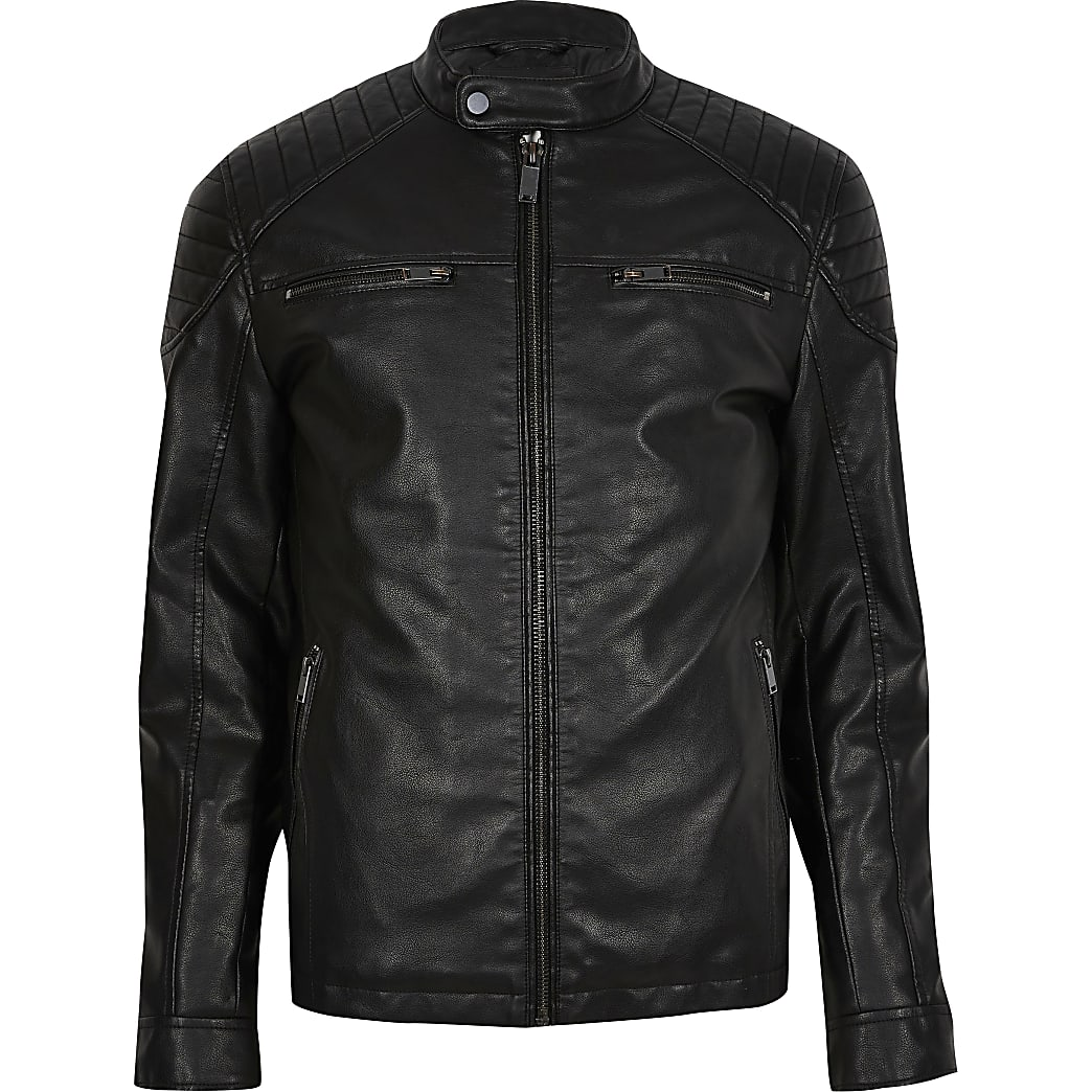 Big & Tall black faux leather racer jacket