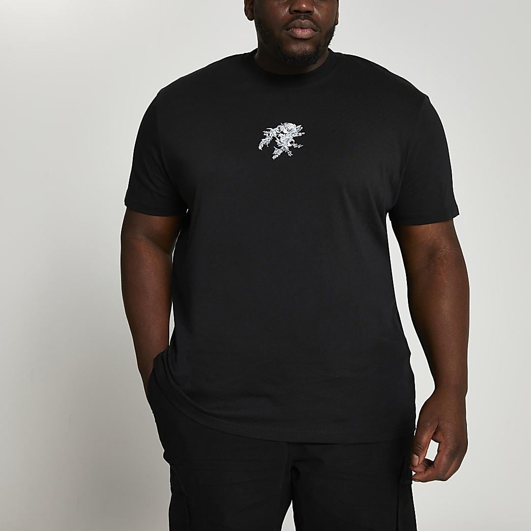 Big & Tall black floral graphic t-shirt