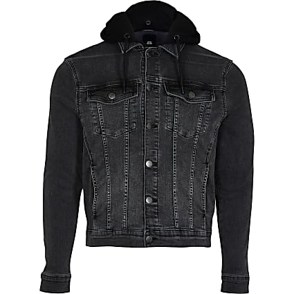 Big & Tall black hooded denim jacket