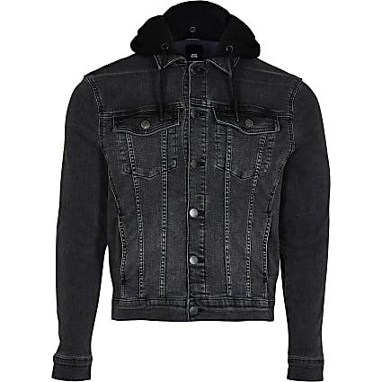 Big & Tall black hooded denim jacket