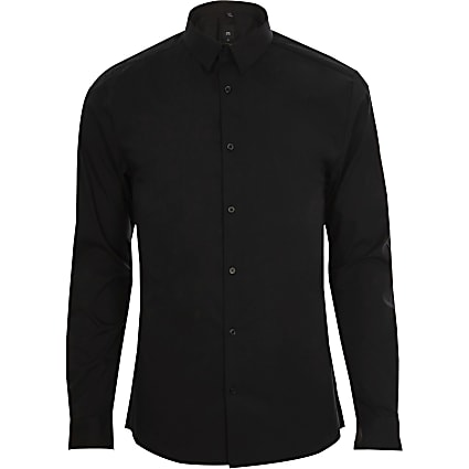 Big & Tall black long sleeve slim fit shirt