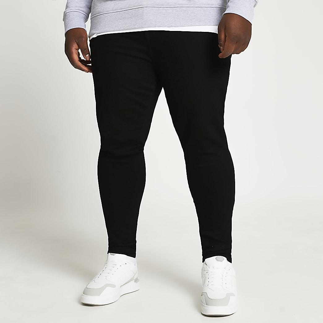 Big & Tall black Ollie spray on skinny jeans