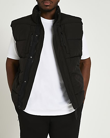 Big & tall black padded nylon gilet