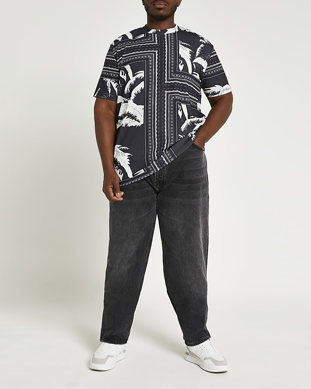 Big & Tall black palm print t-shirt