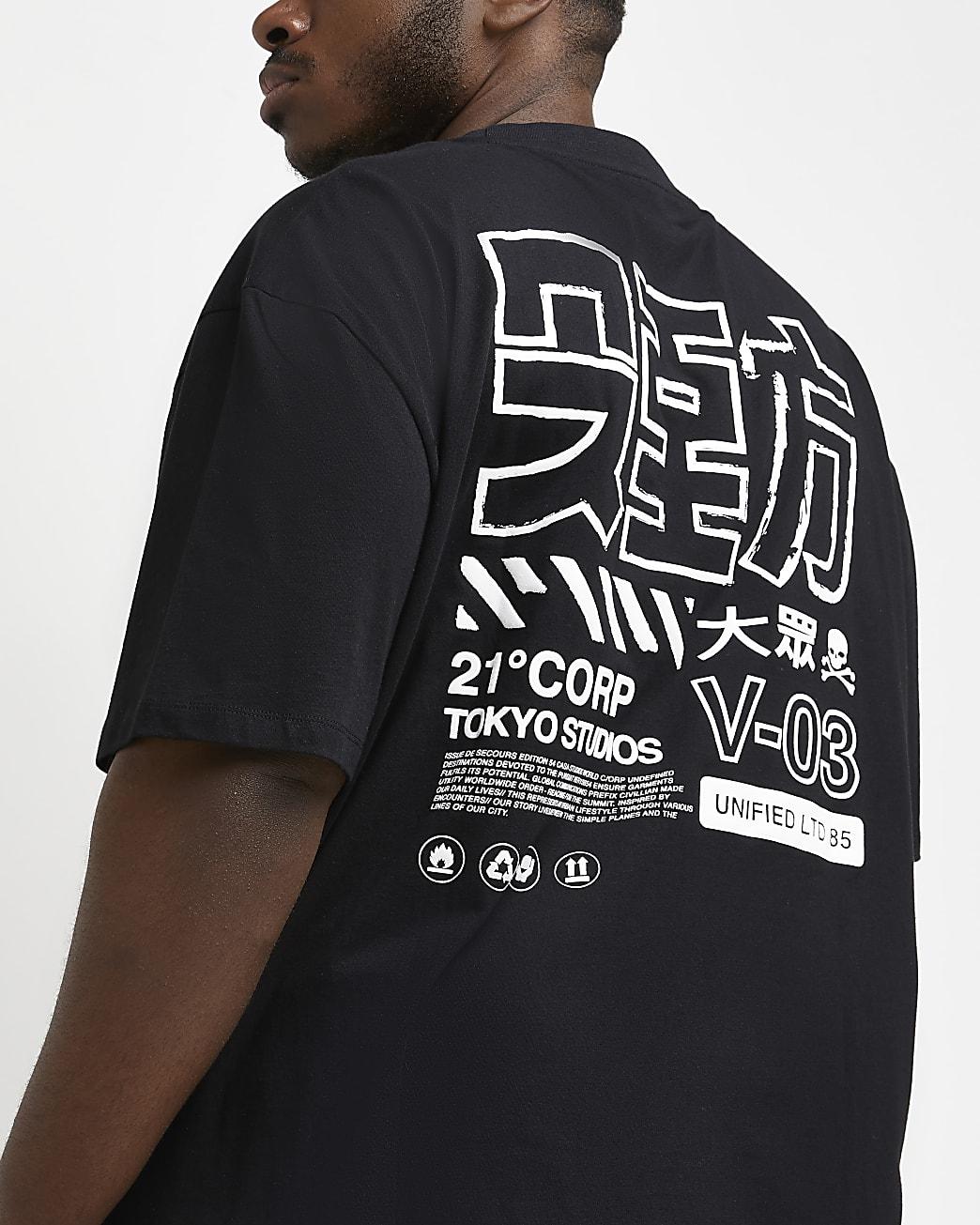 Big & tall black regular fit graphic t-shirt