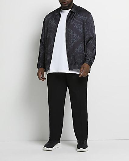 Big & tall black regular fit print shirt
