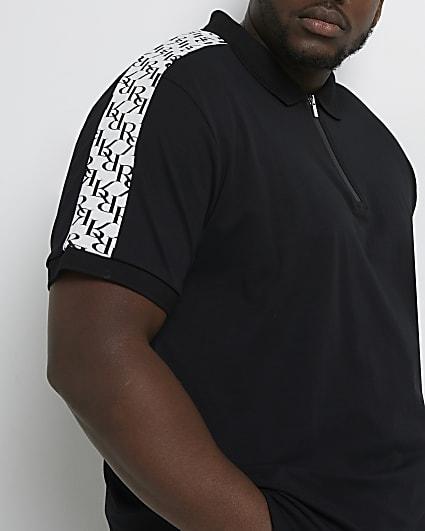 Big & tall black RI monogram polo shirt