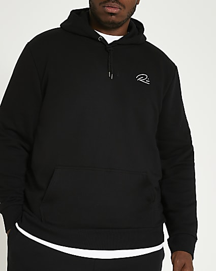 Big & Tall black RI slim fit hoodie