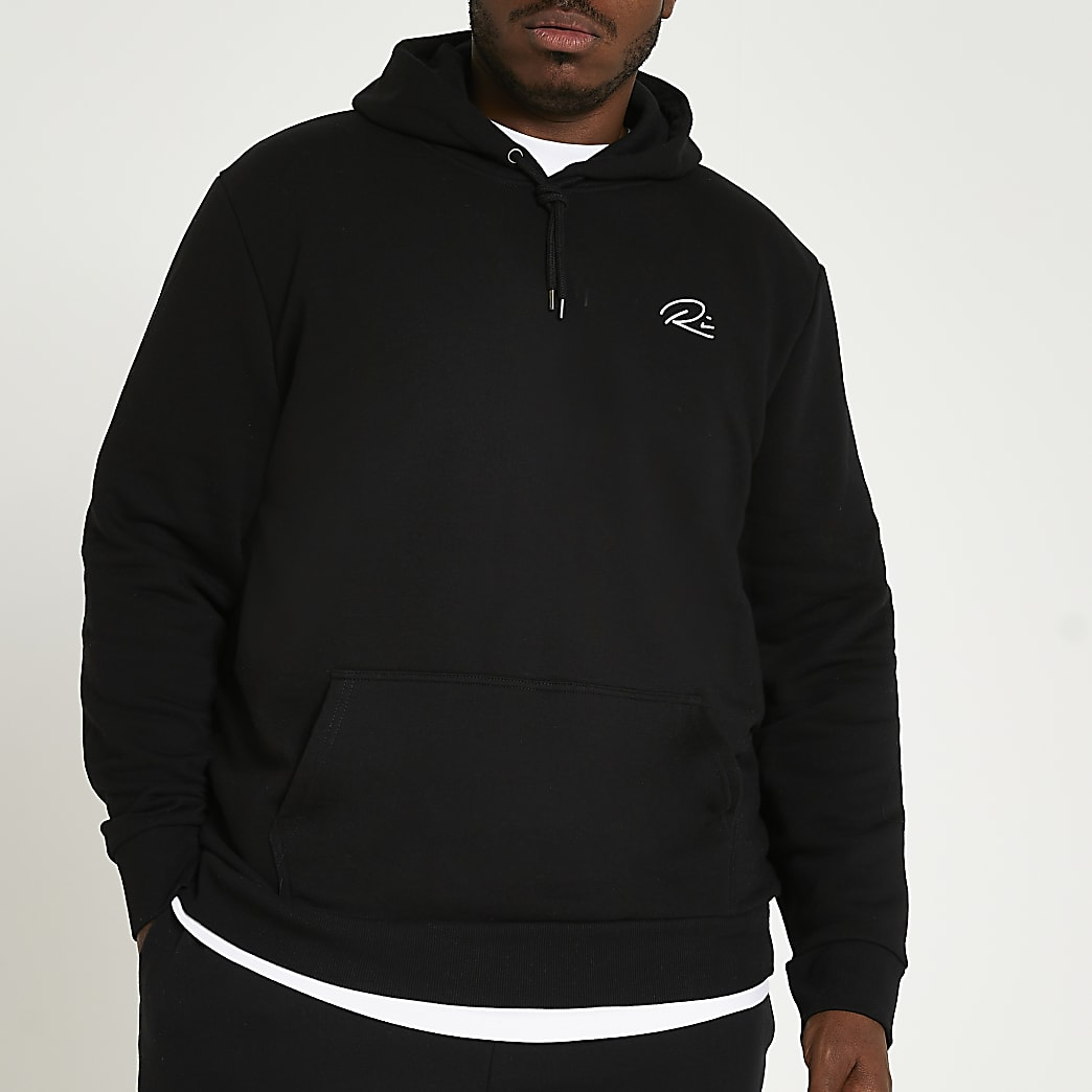 Big & Tall black RI slim fit hoodie