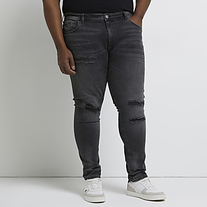 Big & Tall black ripped Sid skinny jeans