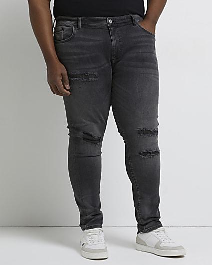 Big & Tall black ripped skinny fit jeans