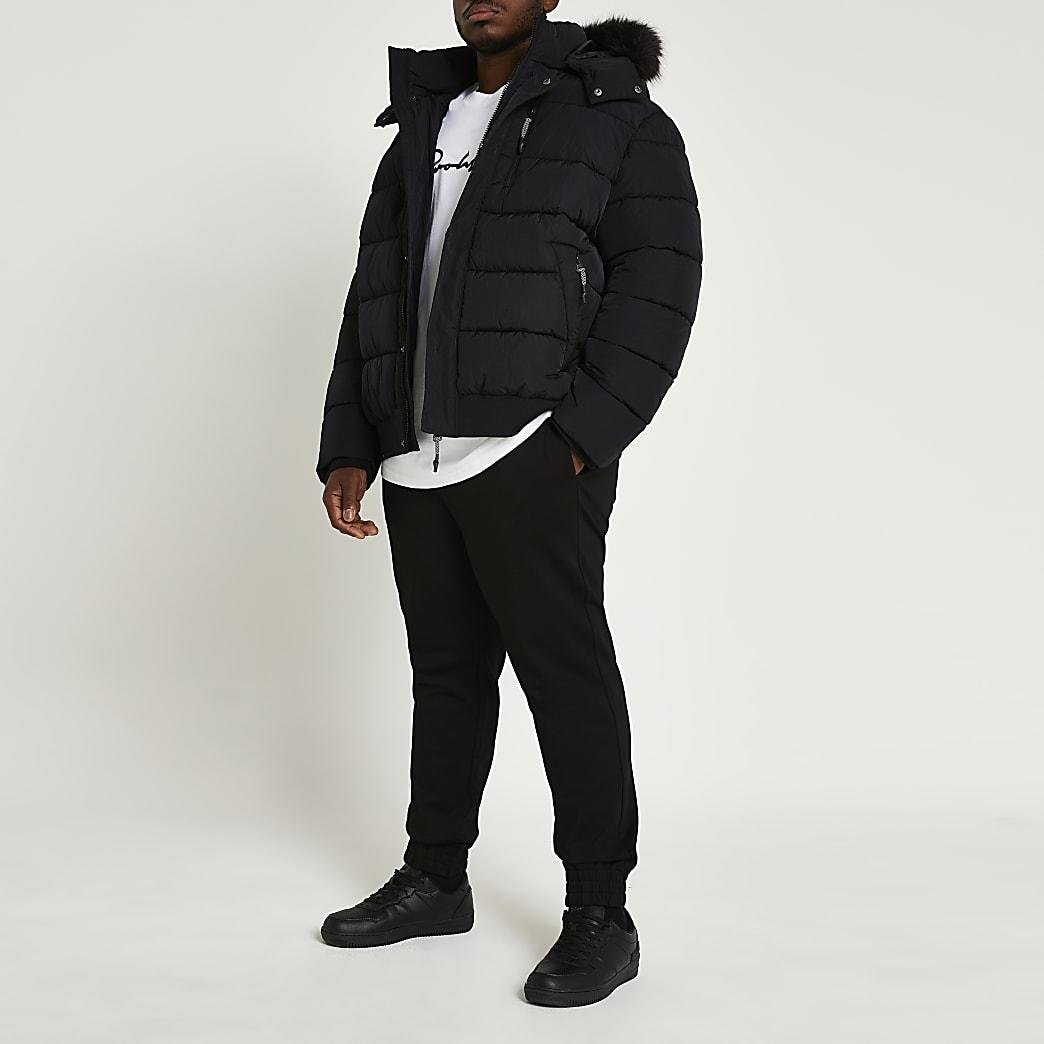Big & tall black short fur trim puffer jacket