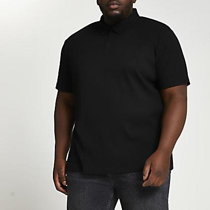 Big & Tall black short sleeve polo shirt