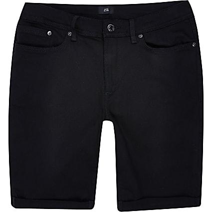 Big & Tall black skinny denim shorts