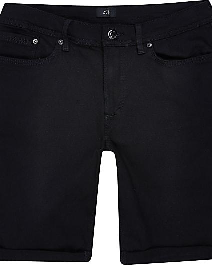 Big & Tall black skinny denim shorts