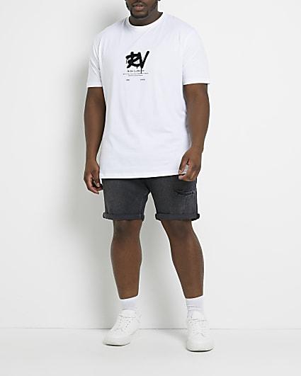 Big & tall black skinny fit denim shorts