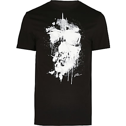 Big & Tall black skull slim fit t-shirt