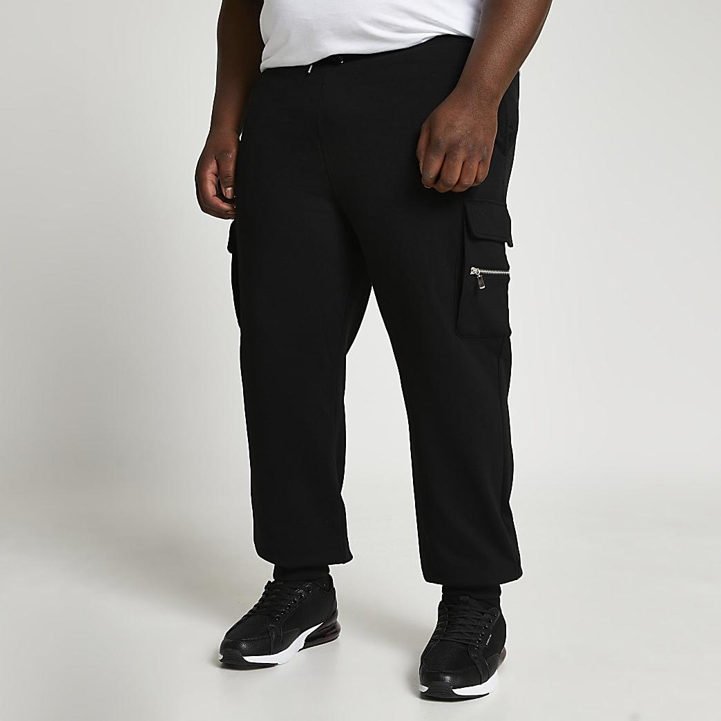 Big & Tall black slim cargo joggers