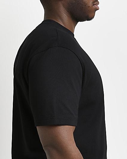 Big & tall black slim fit curved hem t-shirt