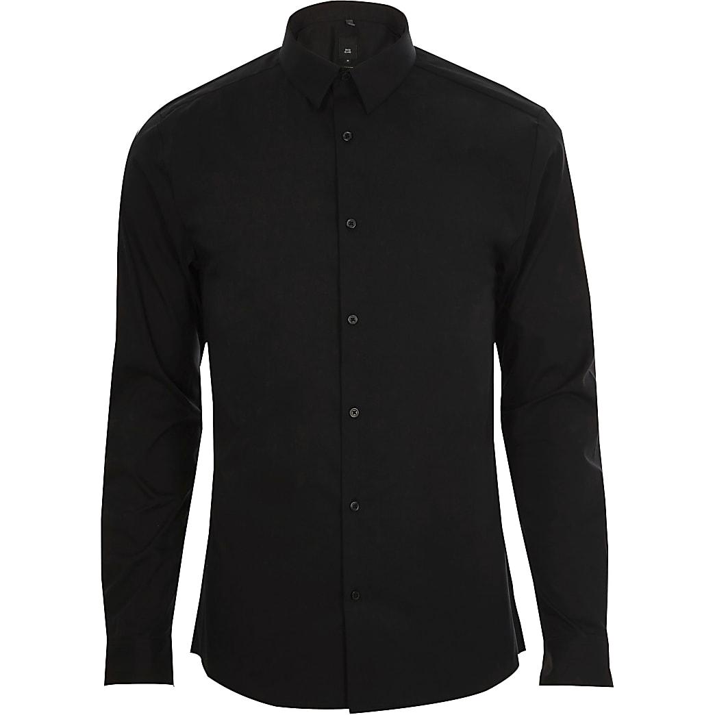Big & Tall black slim fit long sleeve shirt