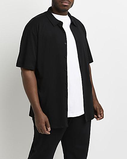 Big & tall black slim fit shor sleeve shirt