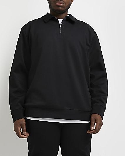 Big & tall black slim fit zip neck sweatshirt