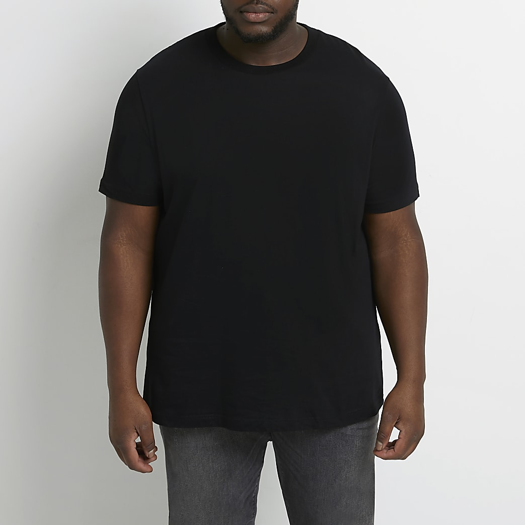 Big & Tall black slim short sleeve t-shirt