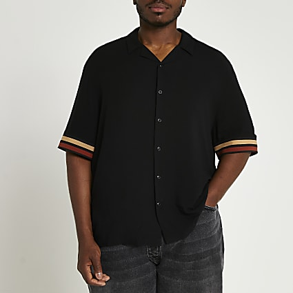 Big & Tall black stripe detail revere shirt