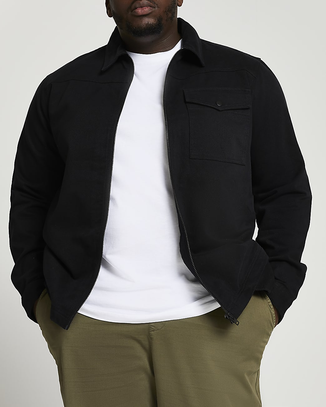 Big & Tall black zip through shacket