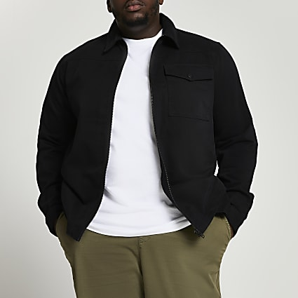 Big & Tall black zip through shacket