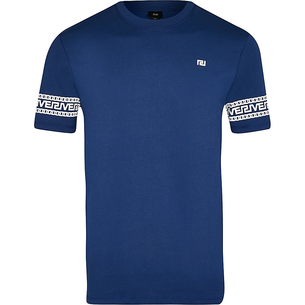 Big & Tall blue Greek river block t-shirt