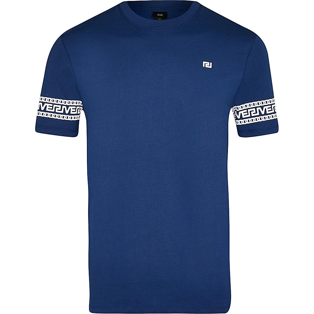 Big & Tall blue Greek river block t-shirt