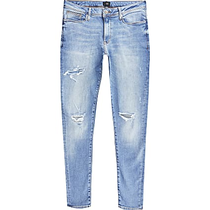 Big & tall blue Ollie spray on ripped jeans