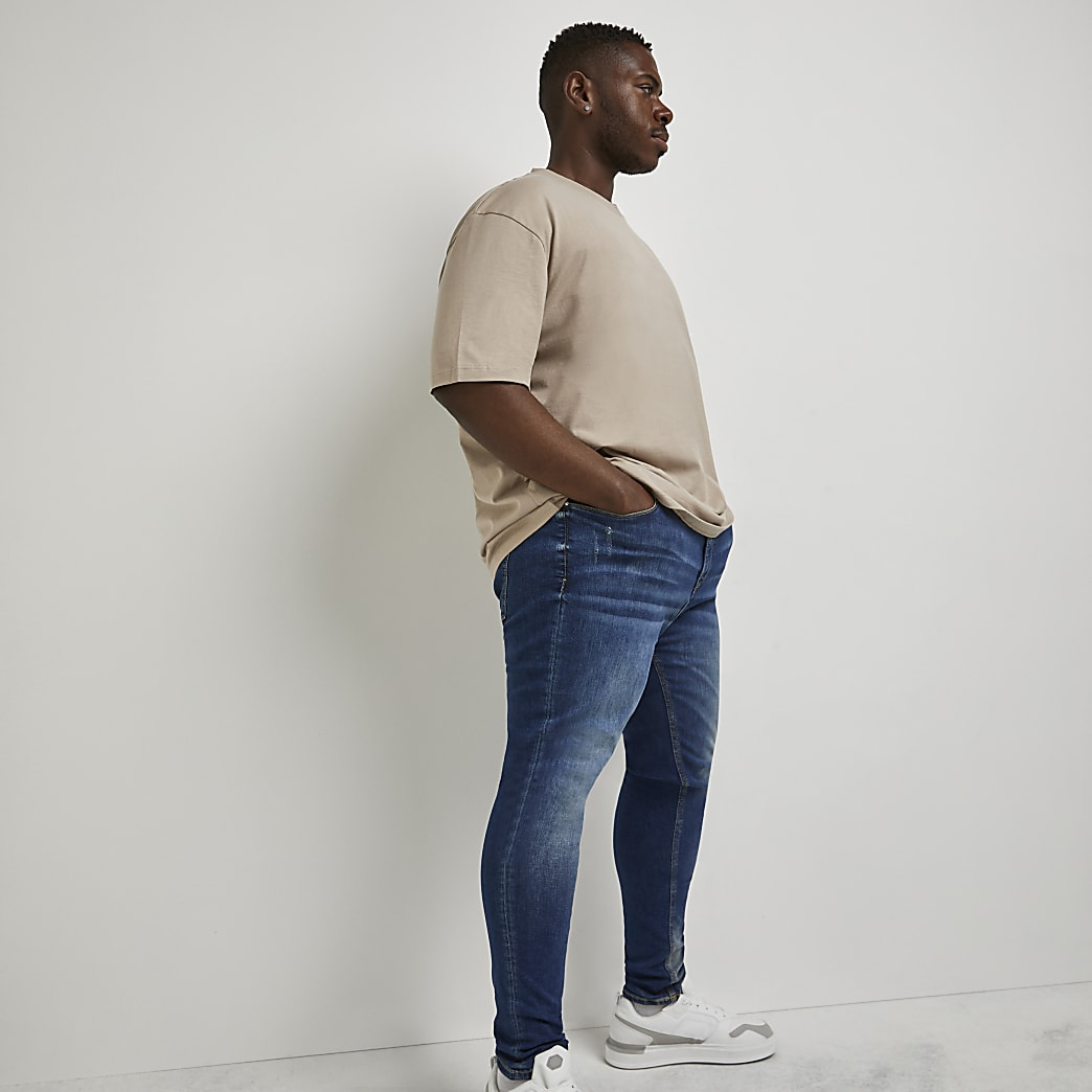 Big & Tall blue Ollie spray on skinny jeans