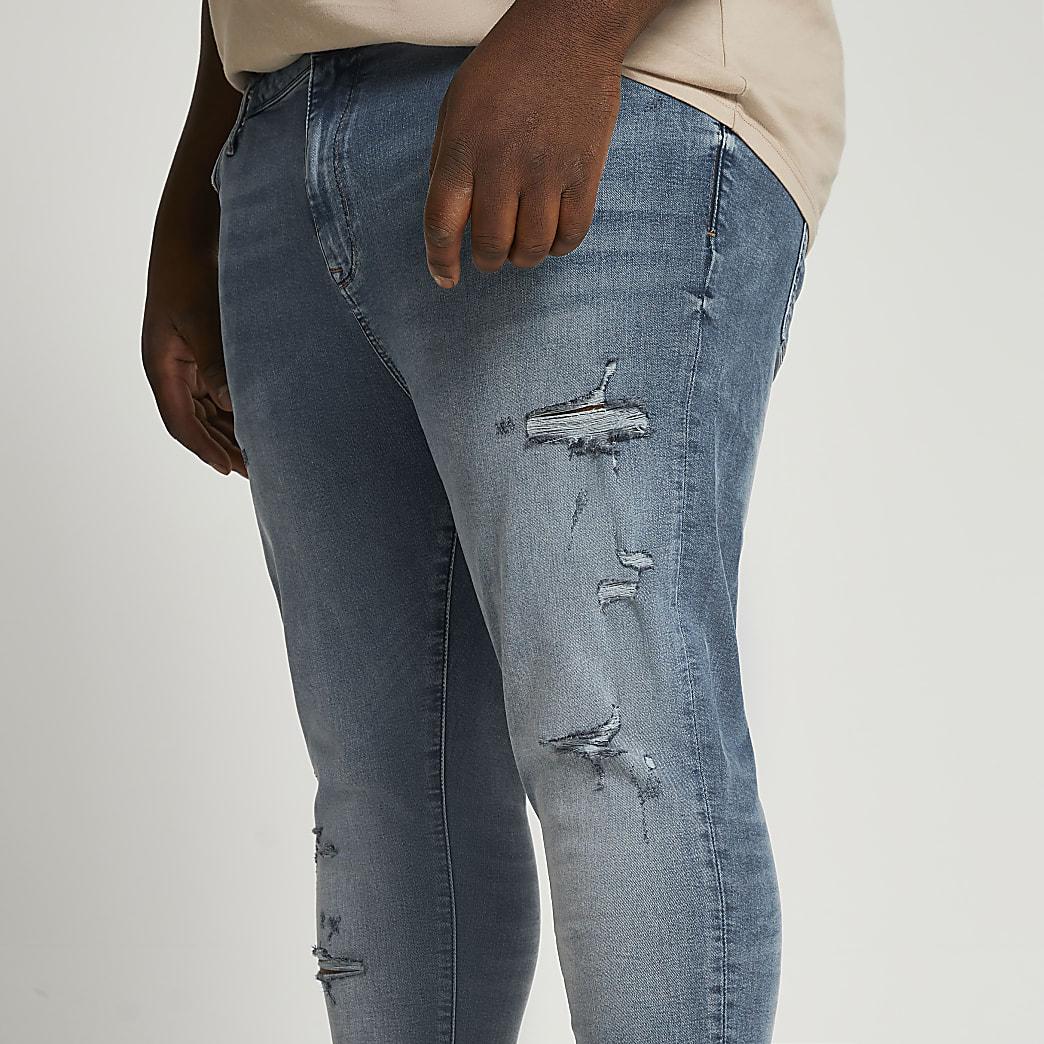 Big & Tall blue ripped spray on skinny jeans