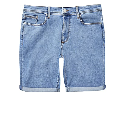 Big & Tall blue skinny fit shorts