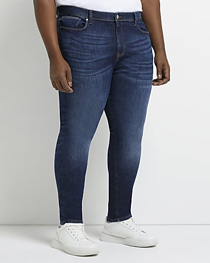 Big & tall blue spray on fit jeans