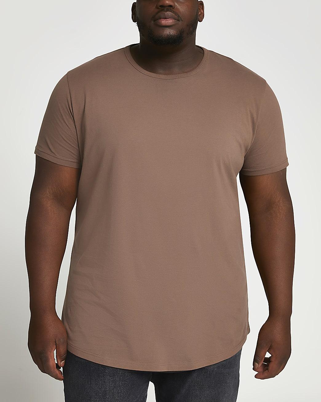 Big & tall brown slim fit curved hem t-shirt