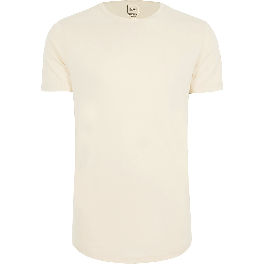 Big & Tall ecru longline slim fit t-shirt