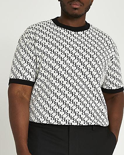 Big & tall ecru slim fit RI monogram t-shirt