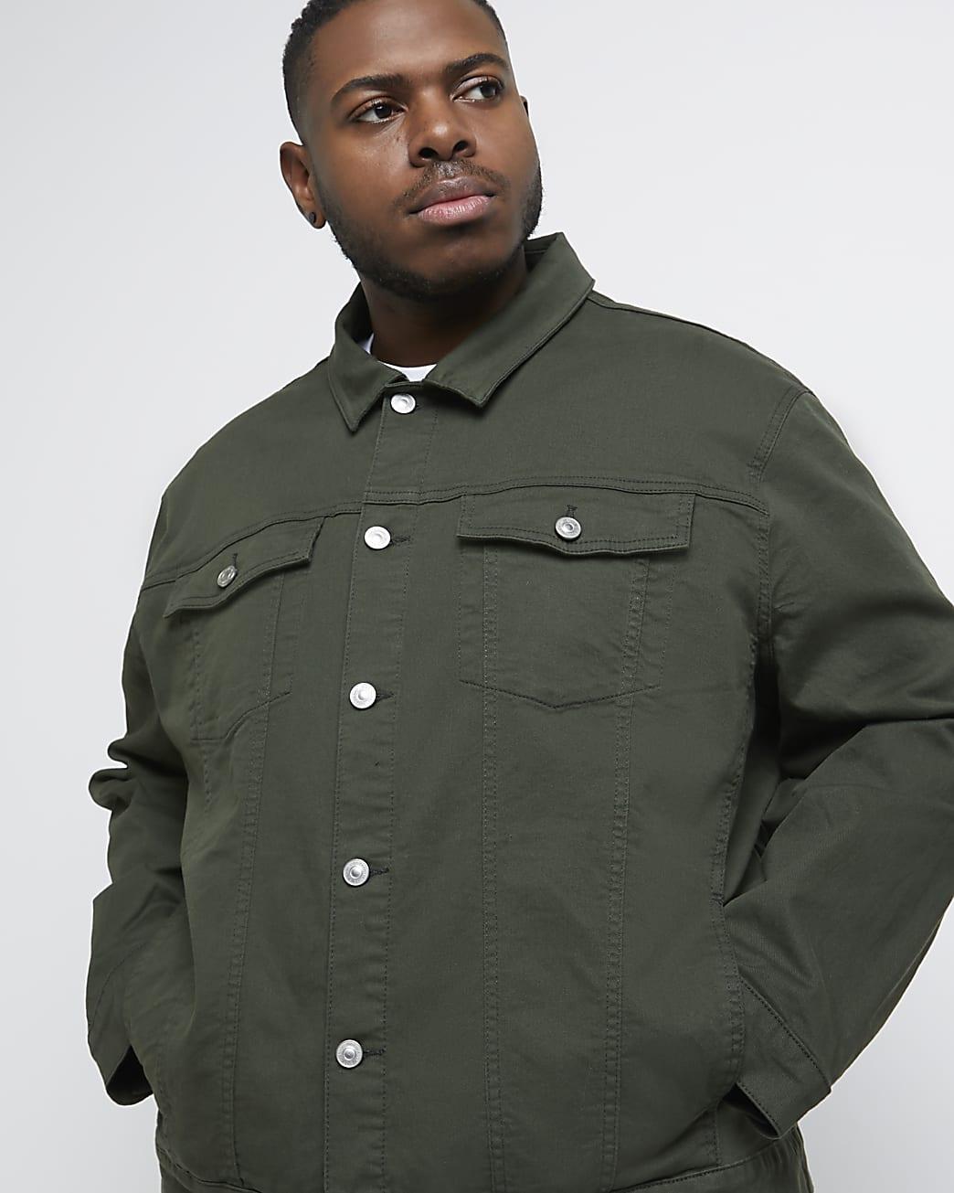 Big & tall green classic denim jacket
