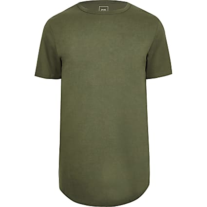 Big & Tall green curved hem longline t-shirt